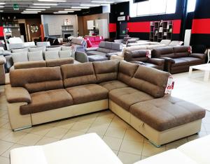 Mod. Luchy divano angolare e pouff contenitore