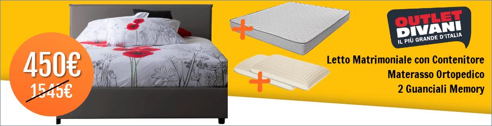 letto contenitore materasso ortopedico 2 guanciali memory - 970x250
